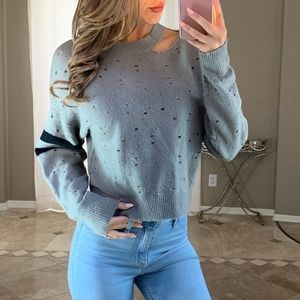 Distressed Chunky Oversized Gray Knit Sweater